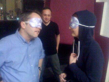John Abbott and Jill Alexander improvize blindfolded