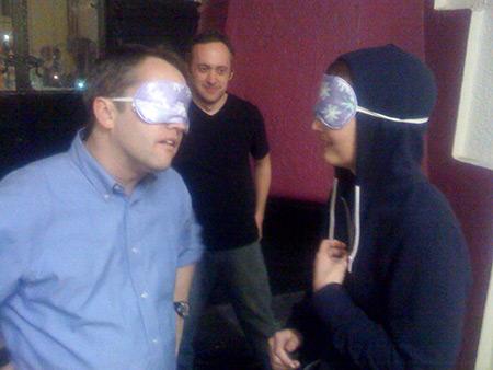 John Abbott and Jill Alexander improvize blindfolded